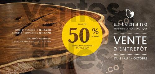 Artemano vente entrep t de mobilier 50 for Meuble a rabais laval