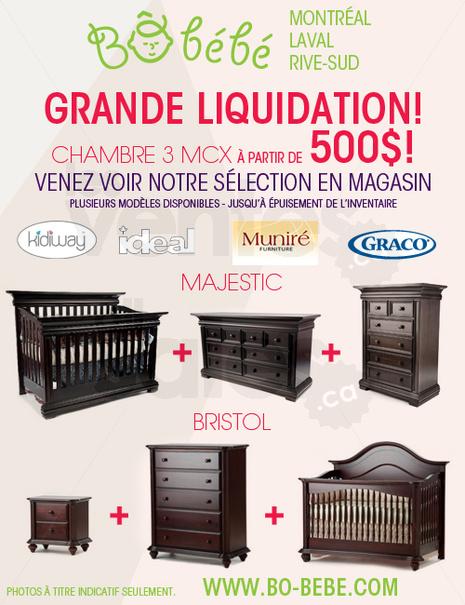 B b b grande liquidation chambre 3 mcx for Meuble bebe laval