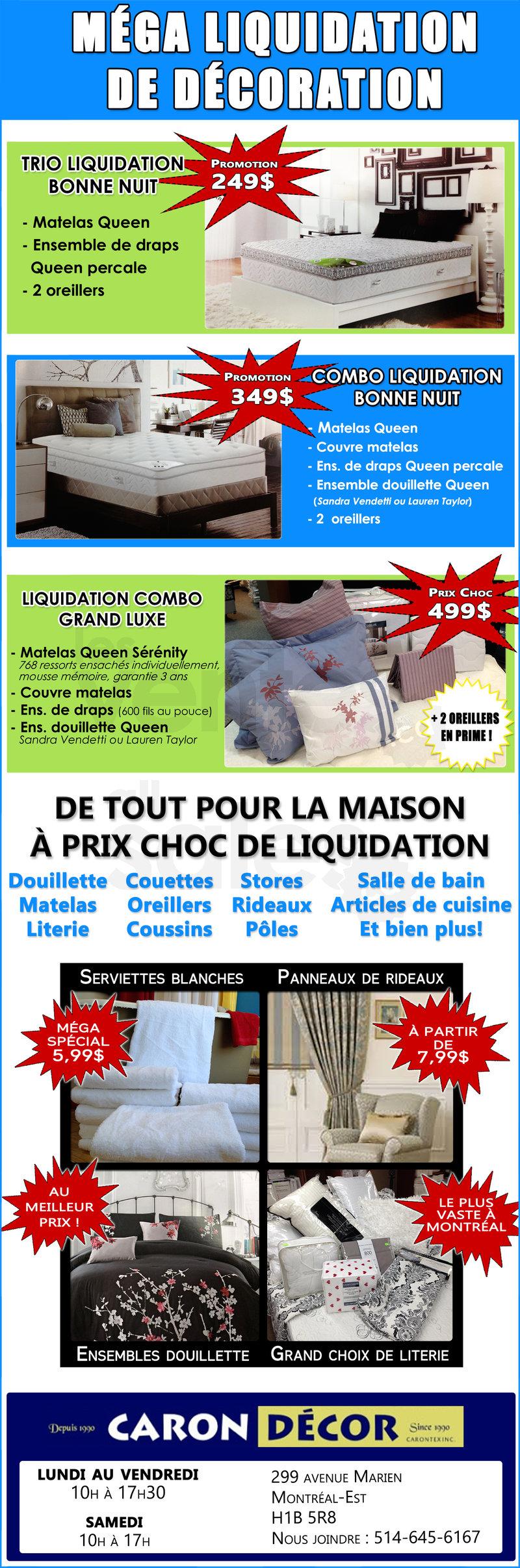 M ga liquidation de d coration for Liquidation electromenager montreal