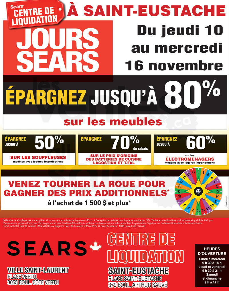 Grande vente chez sears liquidation for Centre de liquidation meuble
