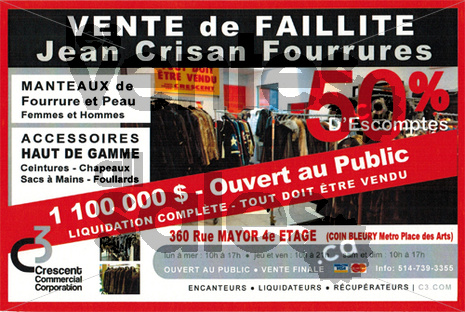 Vente de faillite manteaux & accessoires   lesventes.ca
