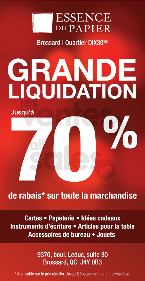 Essence du papier vente liquidation 70 for Entrepot de liquidation