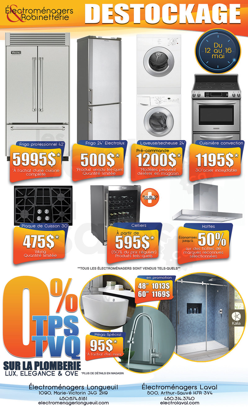 Vente d stockage lectrom nagers plus for Liquidation electromenager longueuil