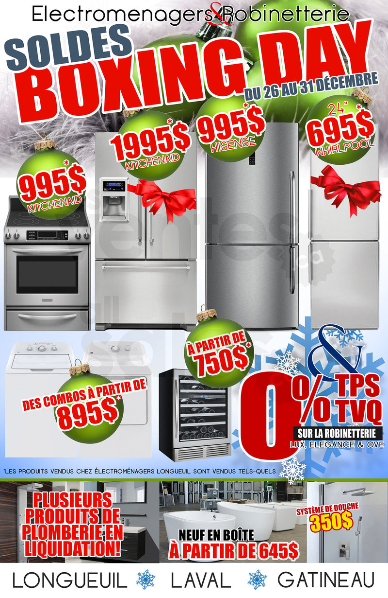 Boxing day lectrom nagers robinetterie for Liquidation salle de bain laval