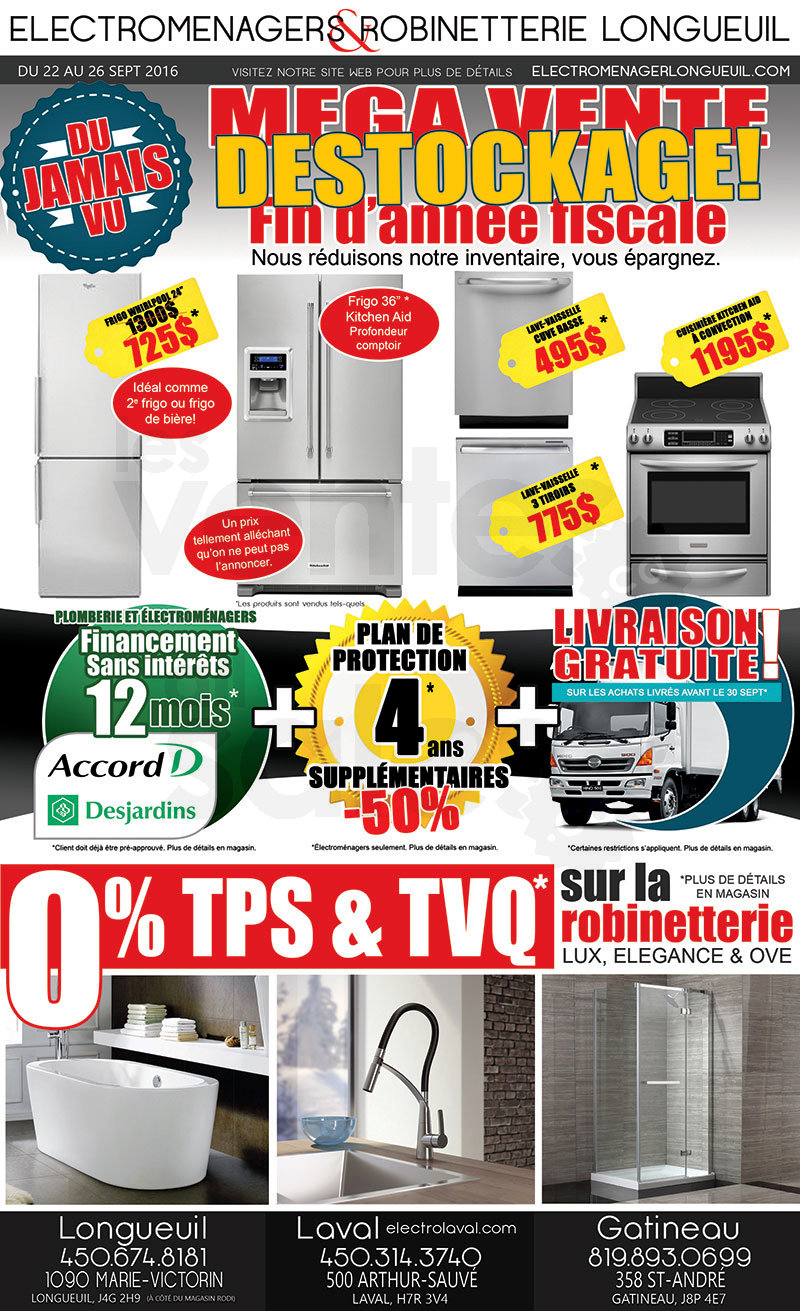 M ga vente destockage lectrom nagers for Liquidation electromenager longueuil