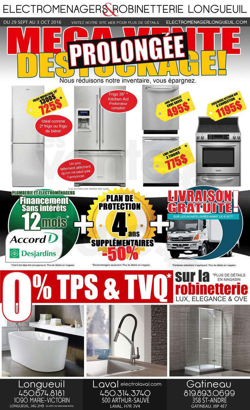 M ga vente d stockage lectrom nagers for Liquidation electromenager longueuil