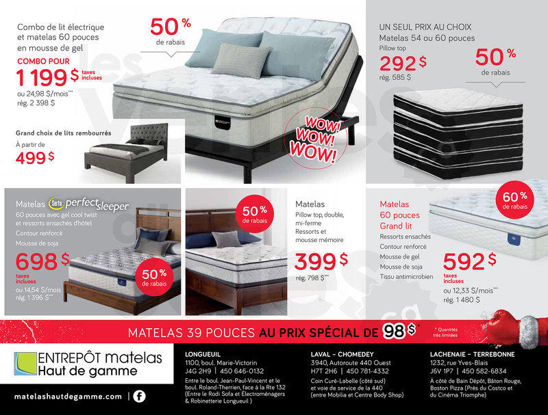 Boxing day matelas serta jusqu 39 70 for Meuble boxing day