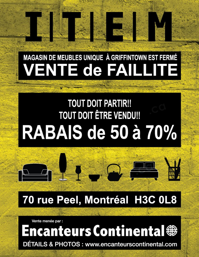 Item d cor vente de faillite jusqu 39 70 for Meuble a rabais montreal