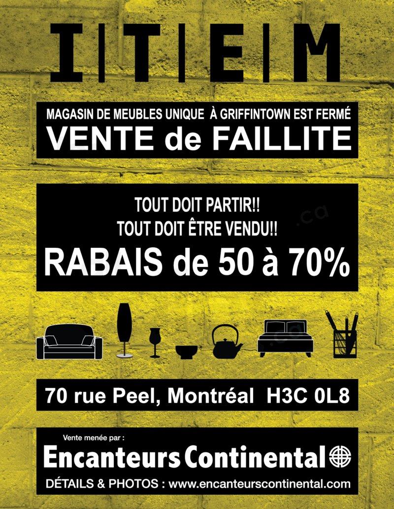 Item d cor vente de faillite jusqu 39 70 for Meuble montreal rabais