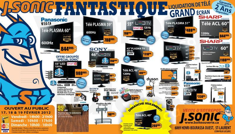 j sonic liquidation de t l grand cran. Black Bedroom Furniture Sets. Home Design Ideas