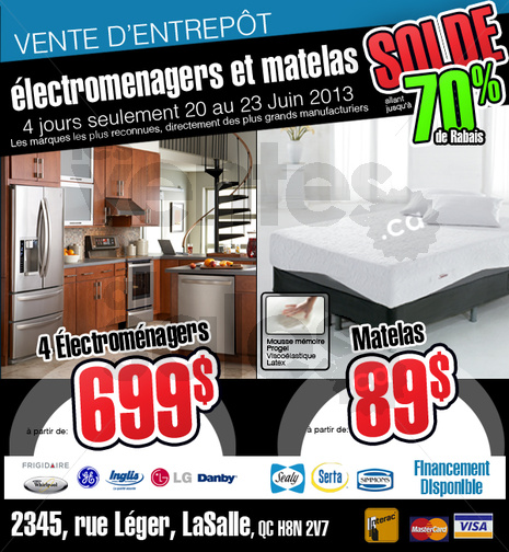 Vente d 39 lectrom nagers et matelas 70 for Liquidation electromenager lasalle