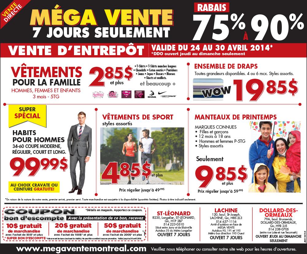 M ga vente d 39 entrep t rabais 75 90 for Mega meuble montreal