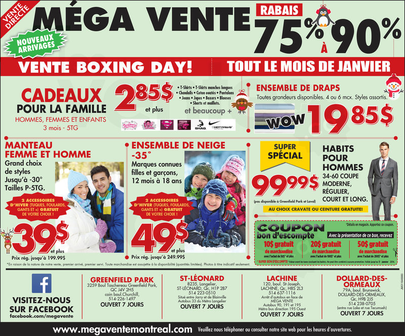 Vente boxing day 75 90 v tements for Meuble boxing day