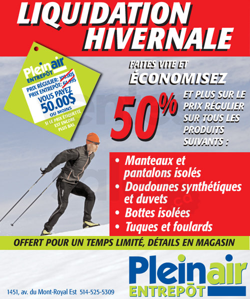 Liquidation hivernale plein air entrep t for Entrepot de liquidation