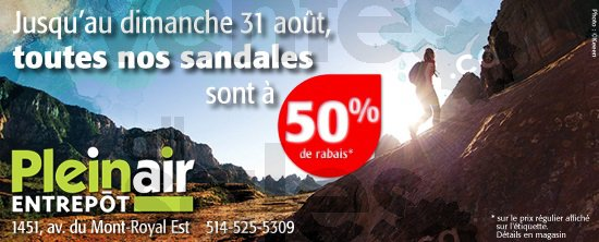 Sandales 50 chez plein air entrep t for Entrepot liquidation