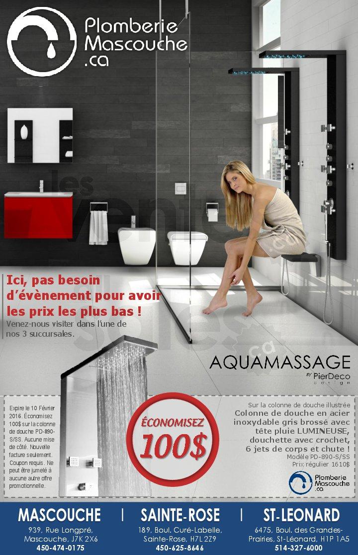 Rabais de 100 sur colonne de douche for Liquidation salle de bain montreal