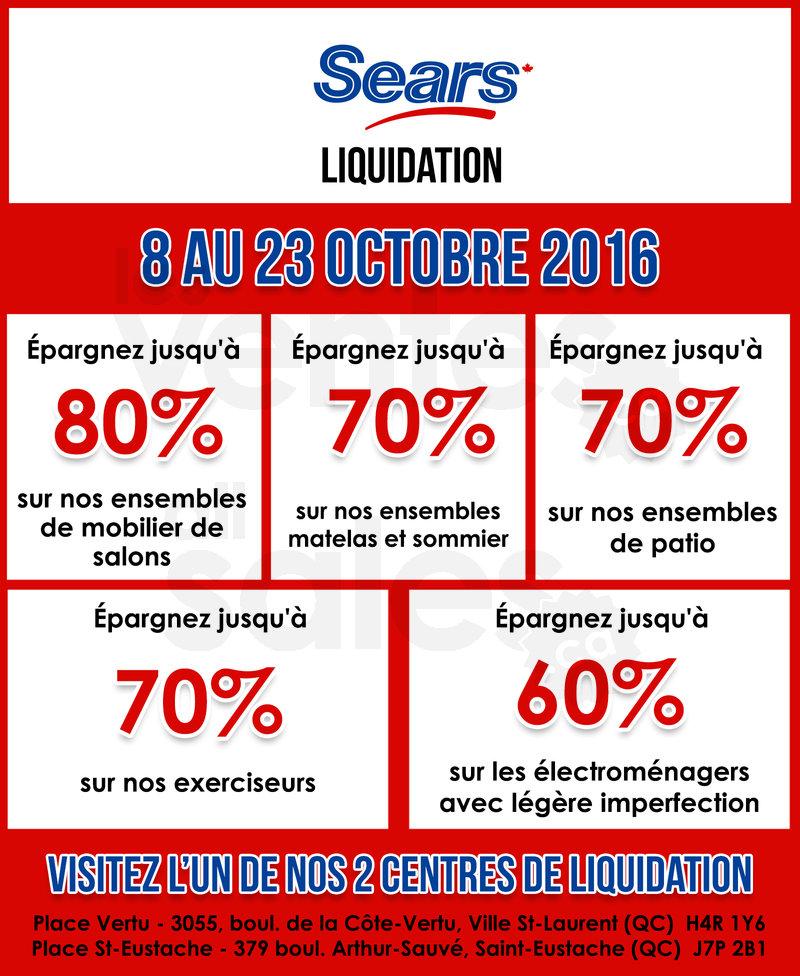 Grande vente chez sears liquidation for Meuble sears montreal