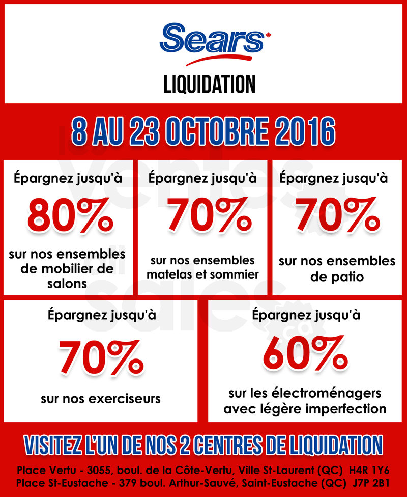 Grande vente chez sears liquidation for Liquidation electromenager montreal