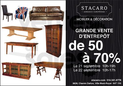 Vente stacaro meubles jusqu 39 70 for Entrepot de meuble montreal