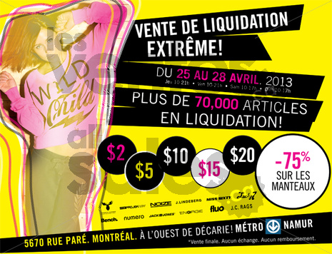 Vente de liquidation v tements designers for Entrepot de liquidation