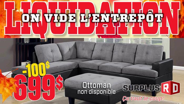 Liquidation d 39 entrep t meubles matelas for Liquidation divan