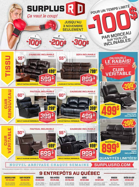 Vente entrep t de mobilier 50 80 for Liquidation meuble sherbrooke