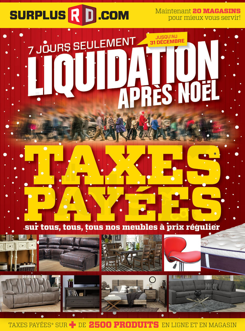 Surplus rd liquidation d 39 apr s no l for Liquidation meuble sherbrooke