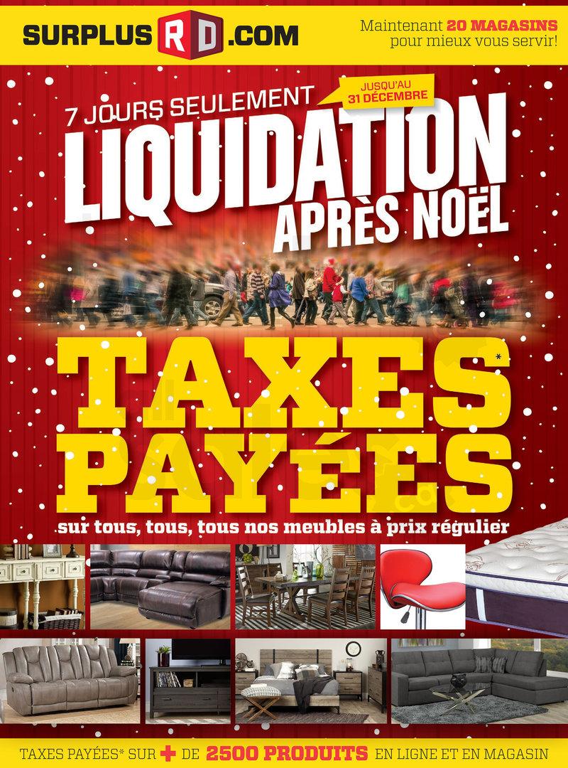 Surplus rd liquidation d 39 apr s no l for Liquidation meuble rive sud