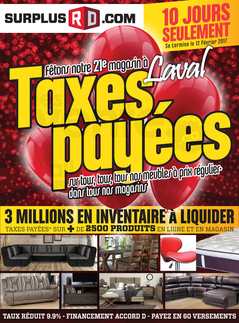 Vente sofas et meubles taxes pay es for Liquidation de meuble rive sud