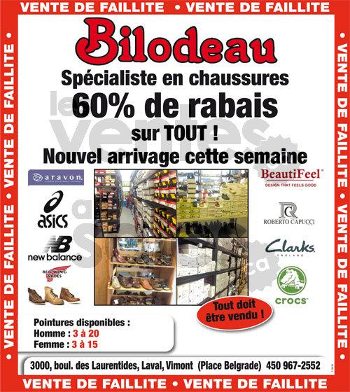 Faillite Bilodeau -Chaussures -60% | lesventes.ca