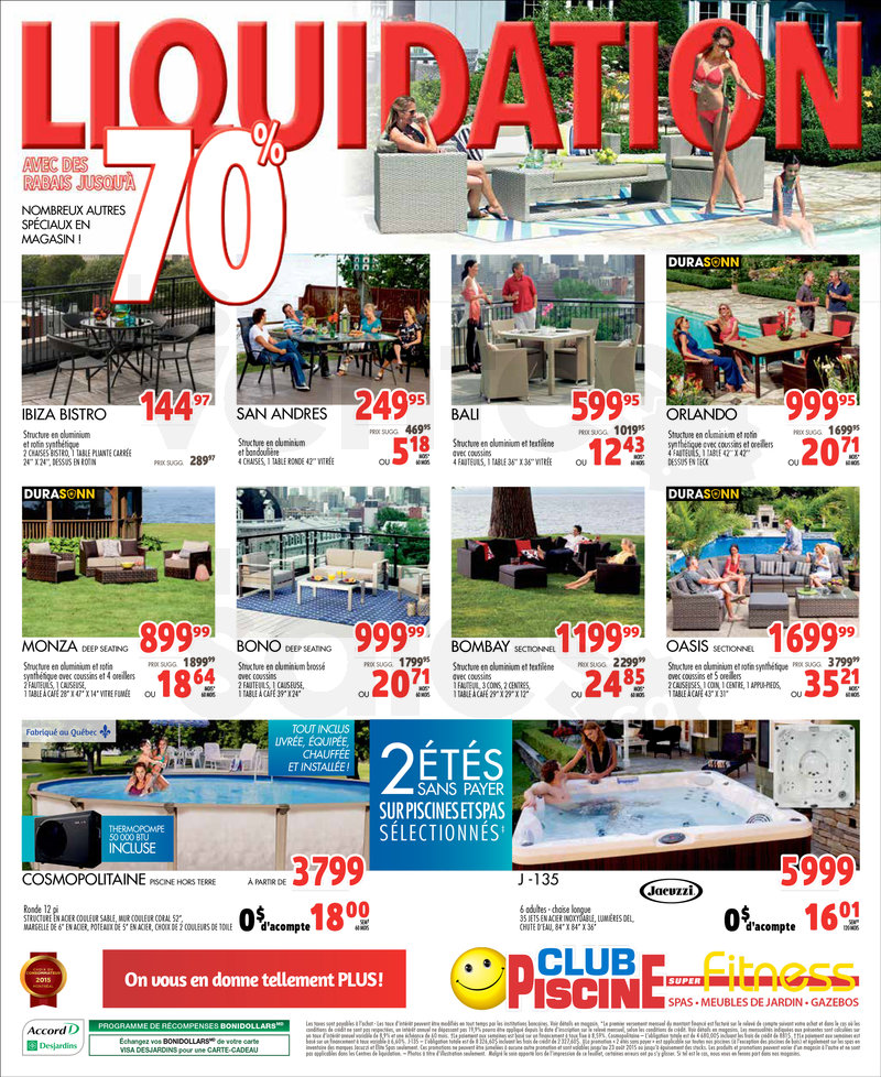Club piscine liquidation 70 de rabais for Club piscine fitness depot quebec