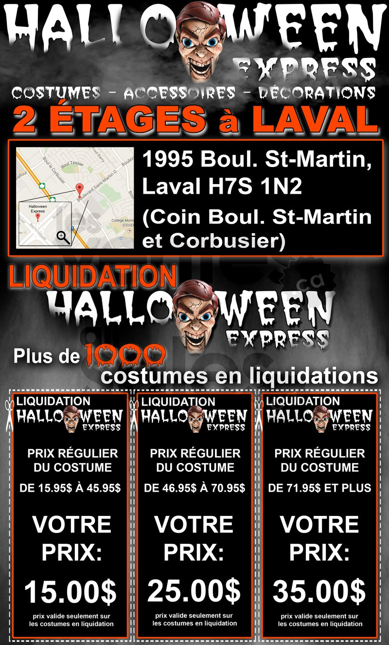 Liquidation costumes d 39 halloween for Centre de liquidation meubles laval