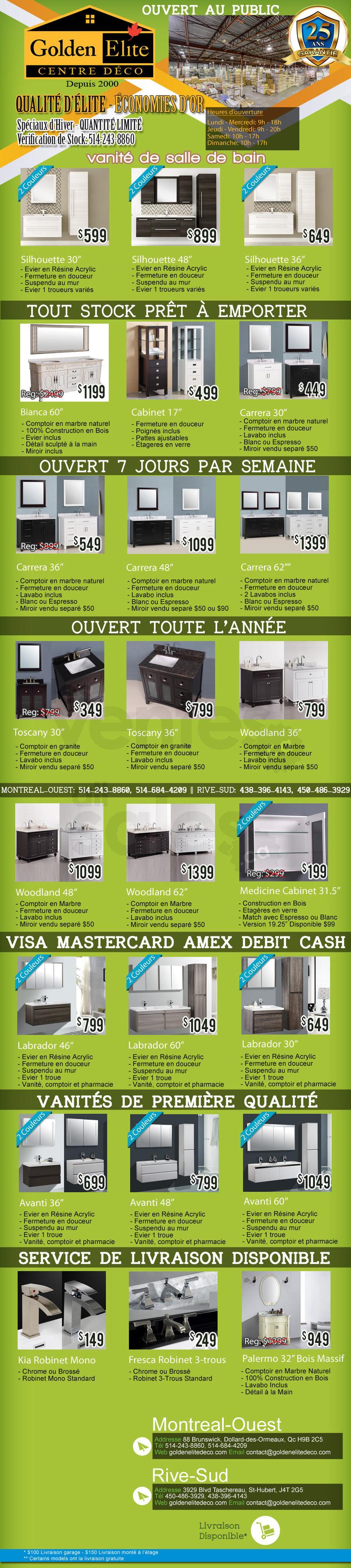 Liquidation de vanit s et de planchers for Liquidation electromenager montreal