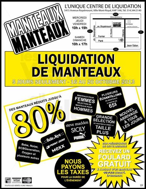 Liquidation de manteaux rabais jusqu 39 80 - Vente de liquidation ...
