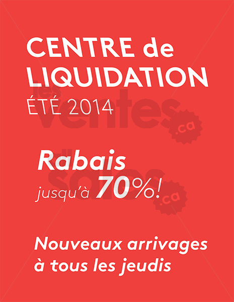 Mobilia centre de liquidation rabais 70 for Entrepot de liquidation