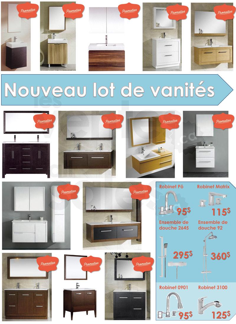 Promo robinetterie et nouvelles vanit s for Liquidation salle de bain montreal