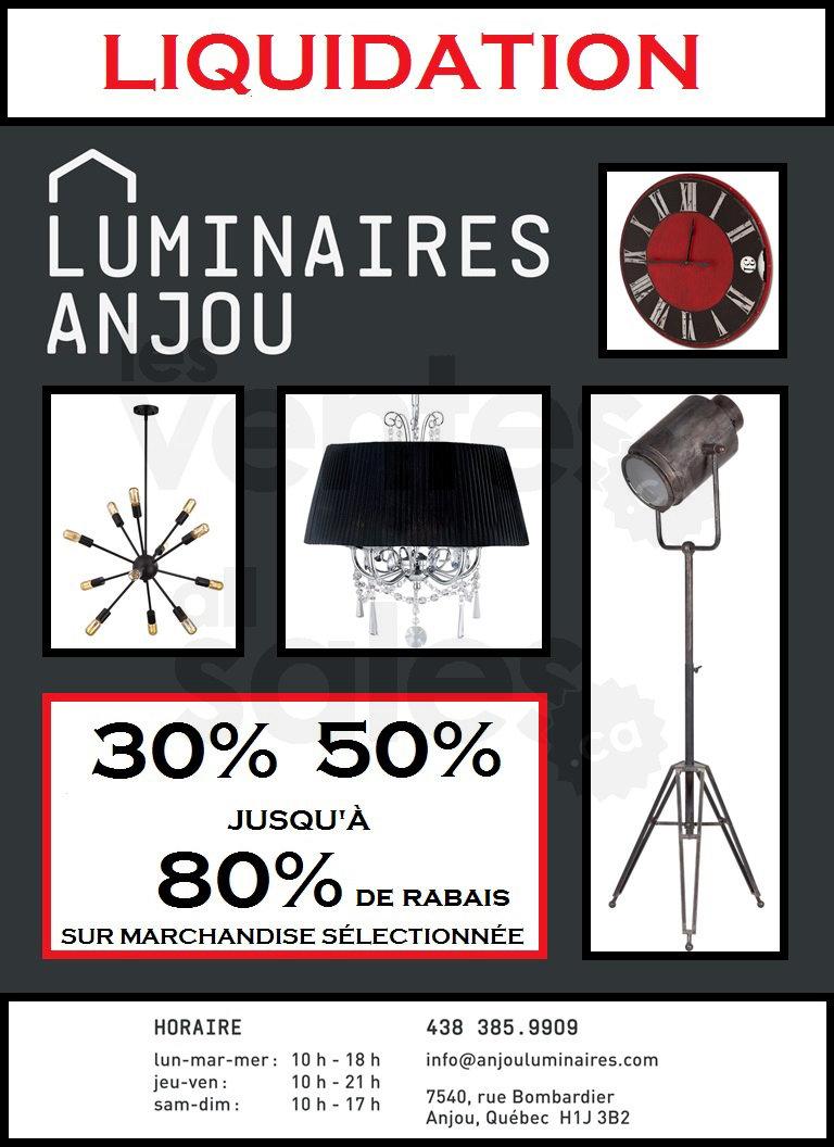 Anjou luminaires liquidation jusqu 39 80 for Liquidation electromenager montreal