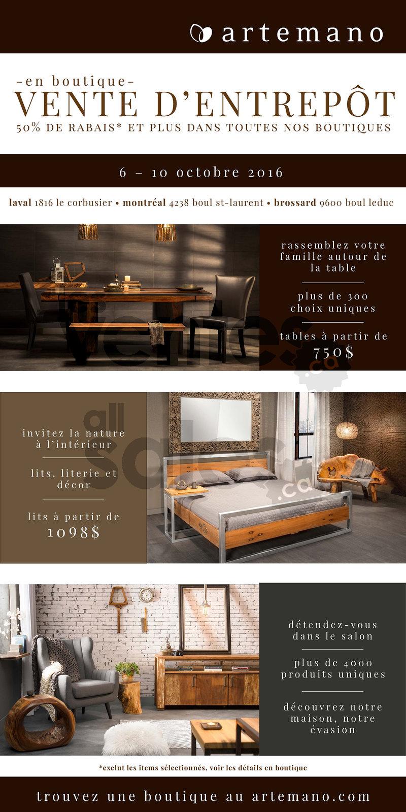 Vente d 39 entrep t artemano rabais 50 for Entrepot de meuble montreal