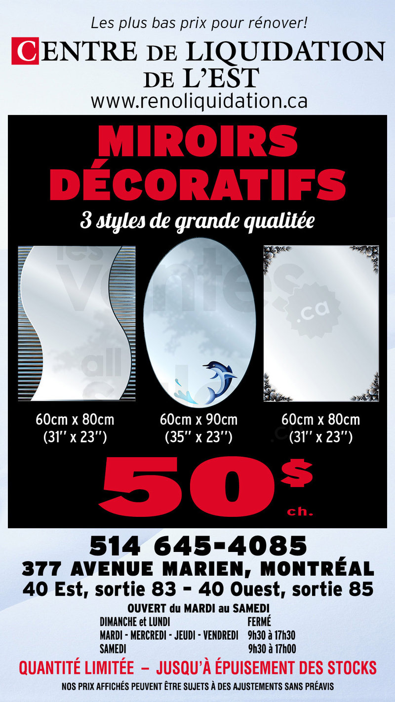 Grand solde miroir d coratif 3 styles for Miroir decoratif montreal