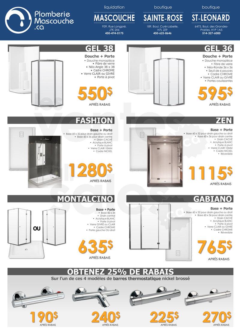 Douches et robinetterie jusqu 39 50 for Liquidation salle de bain montreal