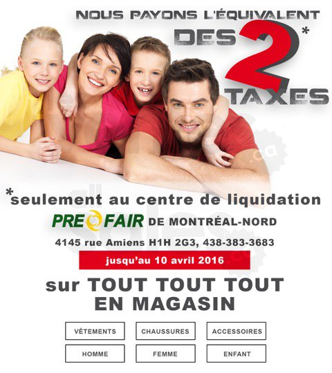 Liquidation de v tements taxes pay es for Centre liquidation meuble montreal