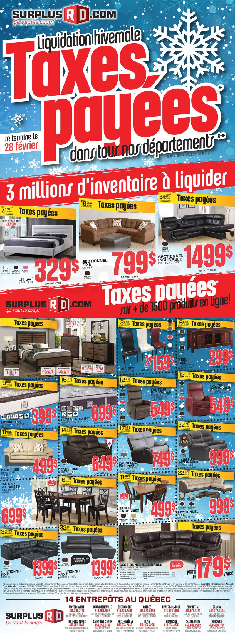 Liquidation de meubles taxes pay es for Liquidation electromenager rive sud
