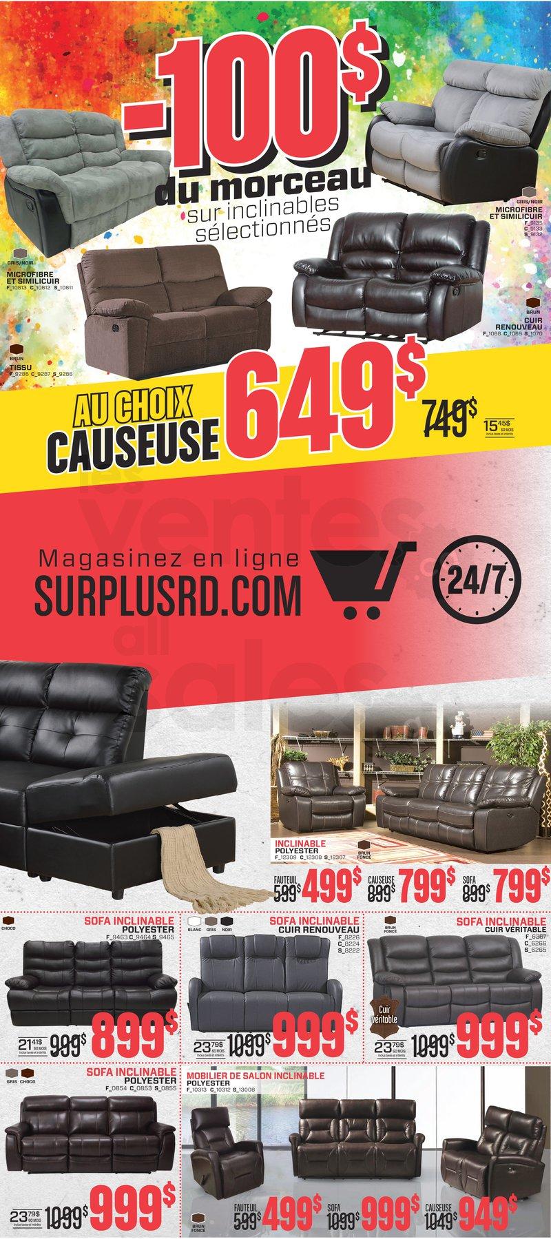 Surplus rd liquidation de meubles for Galerie du meuble quebec