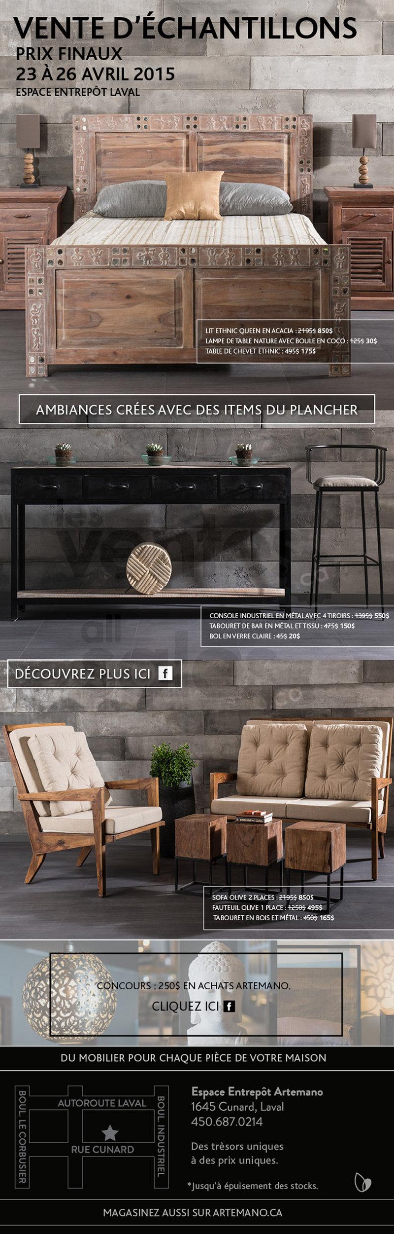 Artemano chantillons mobilier 50 70 for Entrepot de meuble laval