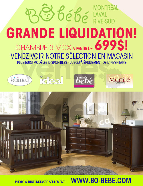 B b b liquidation mobilier chambre b b for Meuble liquidation laval