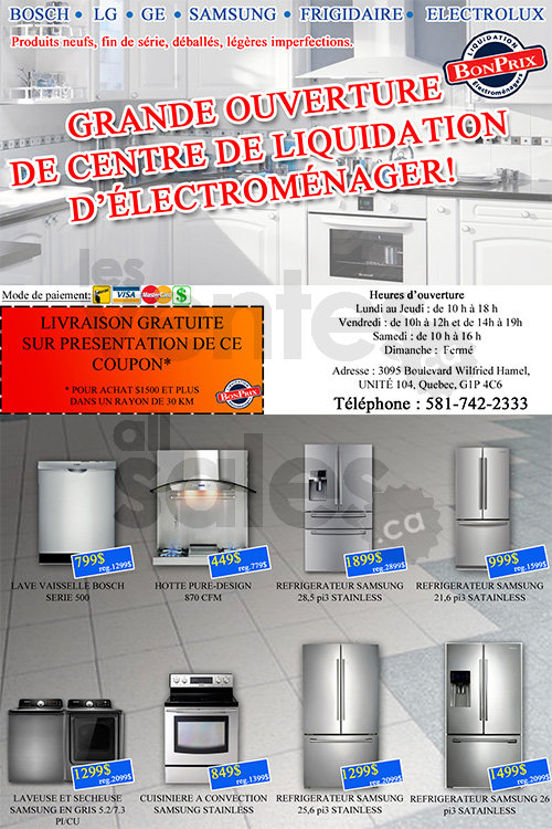 liquidation electromenager quebec