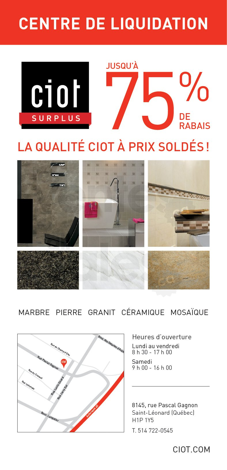 Ciot surplus liquidation jusqu 39 75 for Entrepot de liquidation