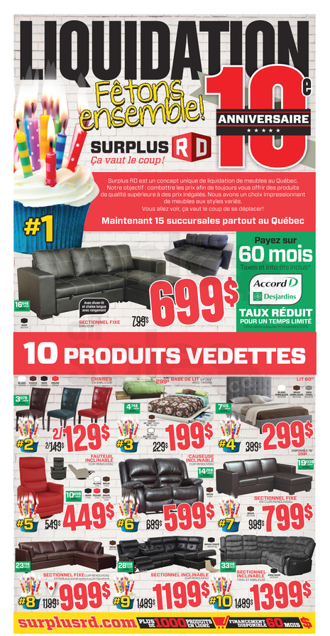 Surplus rd meubles en liquidation for Meuble a rabais montreal